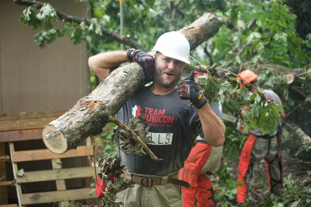 Marine veteran Chris Wells was pumped to partake in TR's 100th operation in Aston, PA.