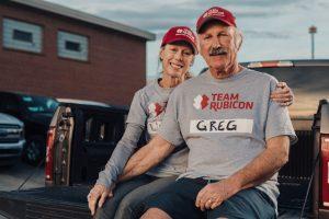 Veteran couple in Team Rubicon shirts