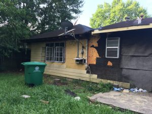 A damaged house in Houston.
